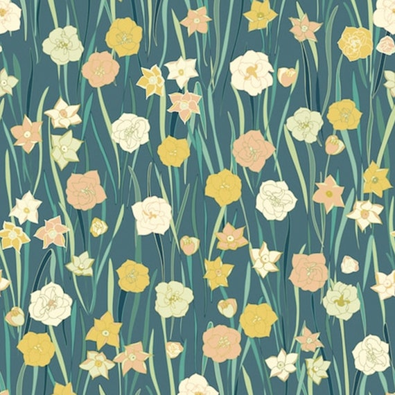Dashwood Studios Jardin Anglais Flowers 100 Cotton Fabric Etsy