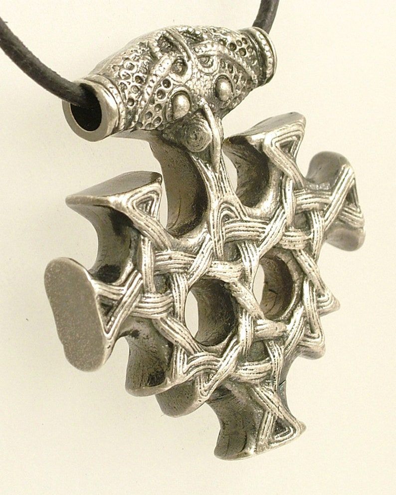 Pendant Thors Hammer Hiddenseekreuz large solid 925 silver antique