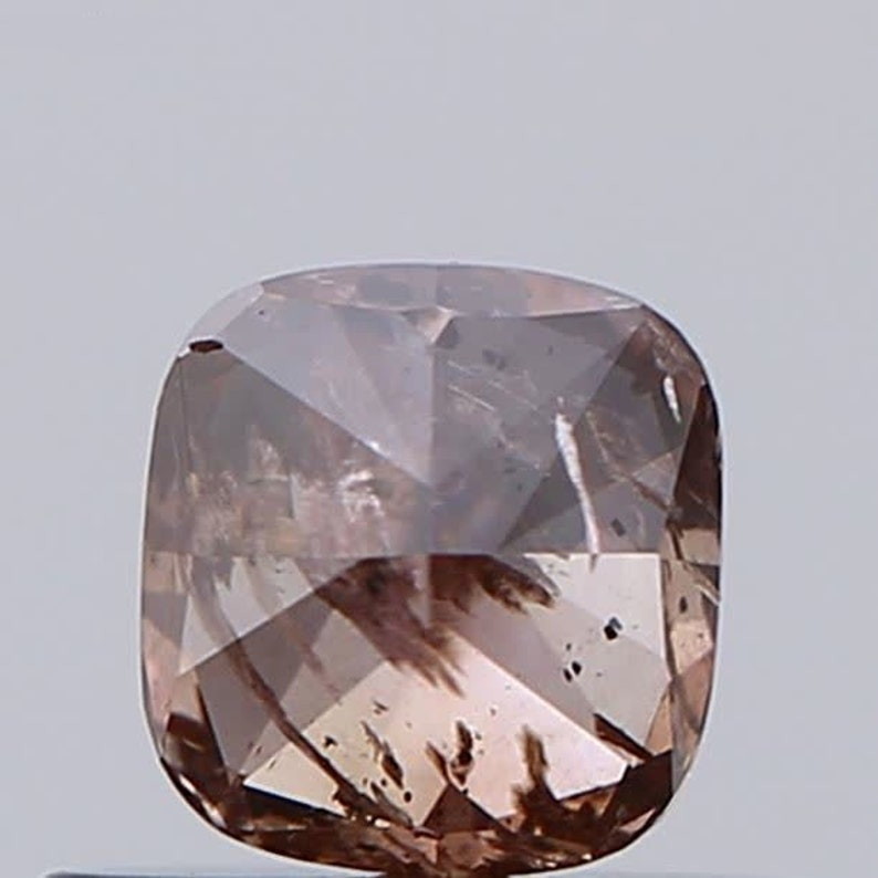 DVB9 0.40 CT  4.24 mm x 4.01 mm x 2.74 mm Cushion Modified Brilliant Shape Natural Fancy Deep Pink-Brown GIA Certified Diamond SKU