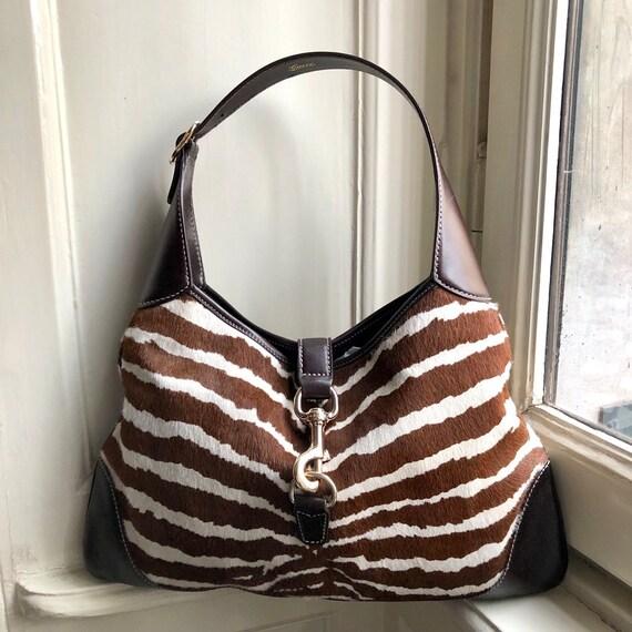 Gucci Jackie Zebra Print Hobo Bag