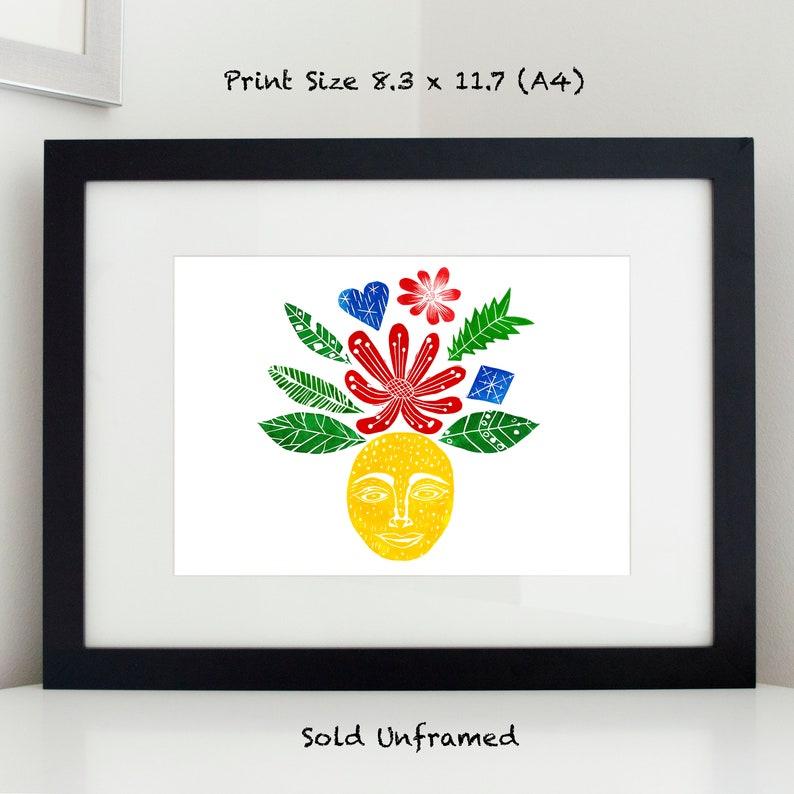 Happy Face Flower Flower Print Digital print Flower Wall image 0