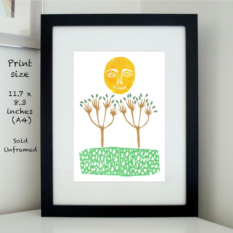 Smiling Sun Giclée Art Print Wall Art Linocut Print image 0