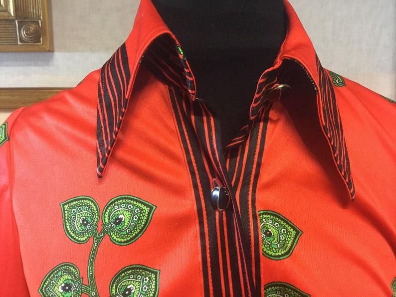Vintage shirt vintage blouse red green floral size 6