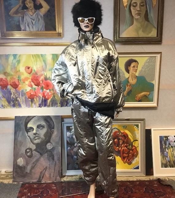 SkI Suit Vintage Ski Suit 1980s Ski Suit Silver Re