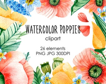Watercolor Digital Clipart with Flowers of Poppies for wedding invitation, birthday invitation, logo elements, planner design