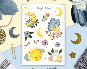 Magic moon stickers - sticker sheet with sun and moon, crescent moon, cloud, potion bottle - nature wicca stickers