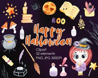 Watercolor Digital Halloween Clipart. Cute Witch. Hand painted PNG Instant Digital Download
