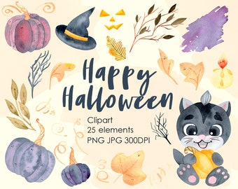 Watercolor Digital Halloween Clipart. Cute Cat with Pumpkin. Hand painted PNG Instant Digital Download
