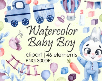Watercolor Digital clipart Baby boys. Cartoon Bunny-boy, Train, Railway. Child birthday set. Hand painted watercolour Cute Animals PNG