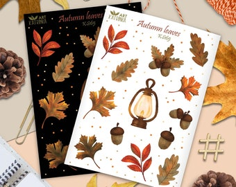 Fall sticker sheet with oil lamp, maple & oak leaves, acorns - autumn boho stickers for planner and scrapbook album
