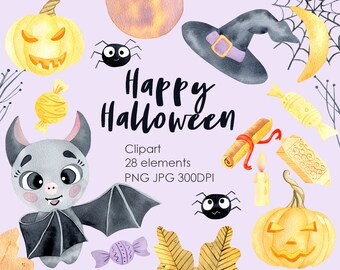 Halloween Clipart Watercolor Digital. Cute Bat with Pumpkin. Hand painted PNG Instant Digital Download