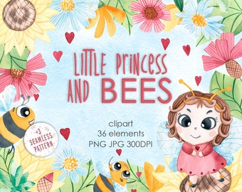 Watercolor Baby Digital Clipart. Cartoon Bees and flowers illustration. Child birthday set. Hand painted watercolour cute field inhabitants