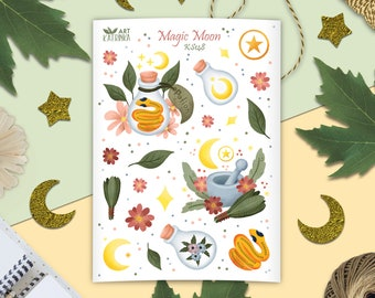 Magic moon stickers - sticker sheet with herbs, crescent moon, snake, potion bottle - nature pagan stickers