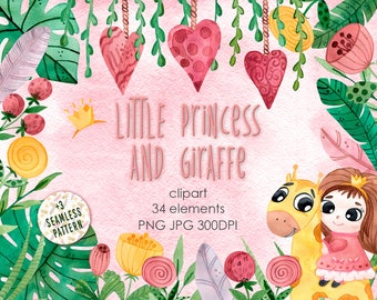 Watercolor Baby Clipart. Cartoon Princess and Giraffe illustration. Child birthday set. Hand painted watercolour feathers & tropical leaves