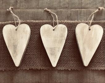 Set of 2 hearts  hanging hearts  farmhouse mini hearts  personalized hearts  rustic heart decor  primitive hearts  neutral heart set