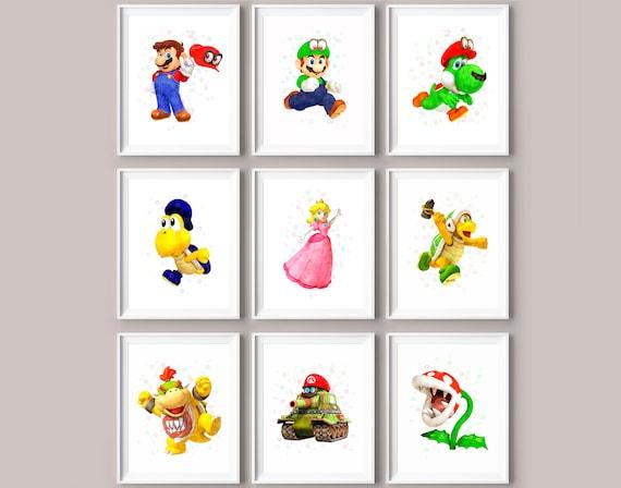 9 Super Mario Bros Mario Print Luigi Princess Peach Yoshi Etsy