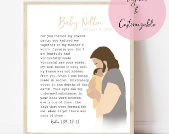 Jesus Holding Baby Print, Baby Loss Memorial, Pregnancy and Birth Announcement, Nursery, Stillbirth or Miscarriage Memory Gift
