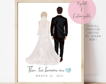 Bridal shower wedding gift, Bride and Groom, Newlywed gift for couple, Present, Portrait, Save the date wedding announcement, Anniversary