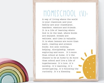 Homeschool Definition, Homeschool Room Decor, Homeschool Wall Art, Homeschool Print, Homeschool decoration, Homeschool Family Mom, Gift