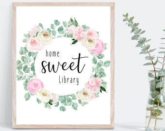 Floral Library Decor, School Library decoration, Librarian gift, home sweet library
