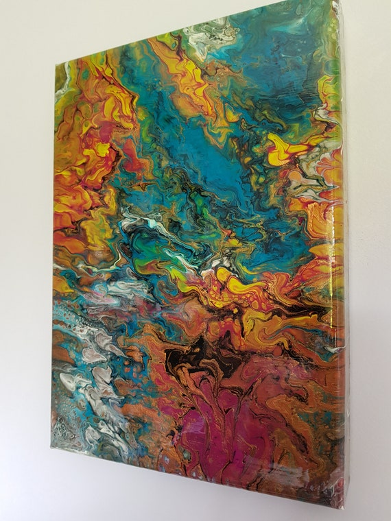 Fire And Ice Contemporary Abstract Original Acrylic Painting On Canvas