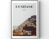 Positano print, Travel poster, Positano poster, Travel Print, Amalfi Coast Print, retro, vintage, style, Positano wall art, Italy Print