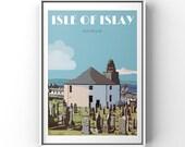 Islay print, Islay whisky gift, Islay poster, Scottish gift, Islay gift, Round Church, Bowmore, Travel poster, retro, vintage