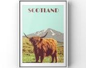 Highland cow print, Scottish print, Scottish poster print, Scottish Travel Poster, Highland cow poster, vintage, Highland cow gift