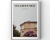 Glasgow print, Glasgow poster, Glasgow gift, Strathbungo, Southside, Travel poster, retro, vintage, wall art