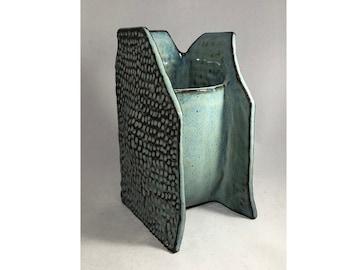 Ceramic Sculptural Vase  •  Textured walls  •  Handmade • Red Clay Stoneware  •  Ikebana • flower arrangements • Home Decor • Blue Green