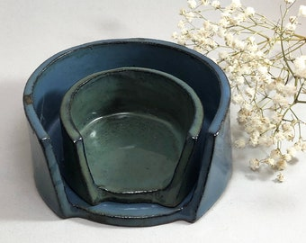 Ceramic Nesting Trays • Jewelry • Trinket Catch all •  Oasis blue & green • Red Clay Stoneware Pottery • Modern decor • Handmade • Dish •