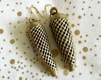 Statement CONE BRASS EARRINGS • Brass Gold • Handmade • Boho • Tribal • Avant Garde • Modern • Bold • Hollow • Basketweave • Drop • Dangle