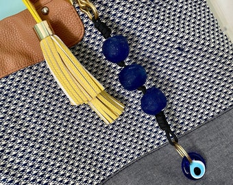 Glass Evil Eye Protection Keychain • African Recycled Blue Seaglass •  Japanese Solid Brass hook • Purse Accessory • Boho • Handmade • black