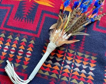 Ceremonial Feather Fan • Smudge • Dance • Wand • Shamanic • Spiritual • Pheasant • beaded • buckskin leather • tassel • magic • decor •
