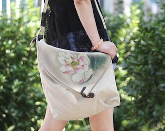 f7b85ce4a 2019 Floral Women Crossbody Bag, Canvas handbag For Women ,Shoulder Bag,  Canvas Tote bag, Canvas Bag , New style Message Bag, Gift for her