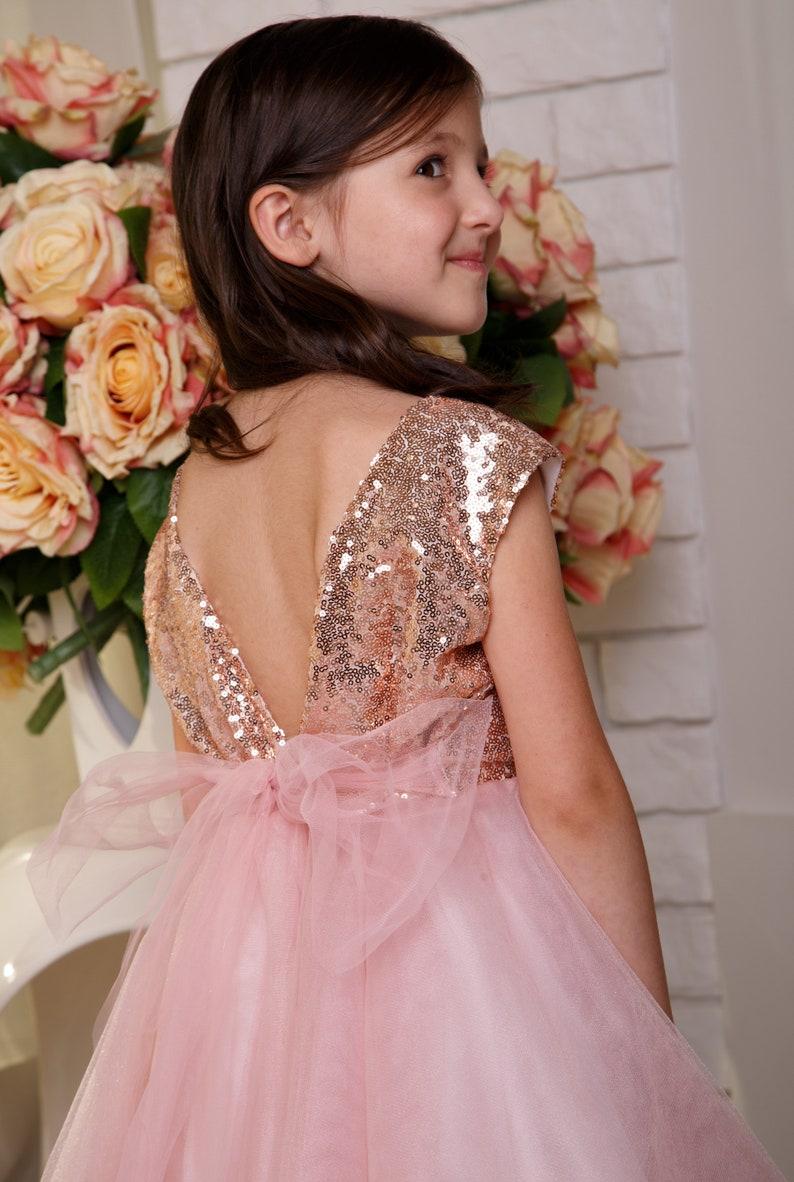 Sequin flower girl dress Birthday girl dress Prom girl dress Baby formal dress Blush party dress Princess dress Tulle tutu dress Kids dress