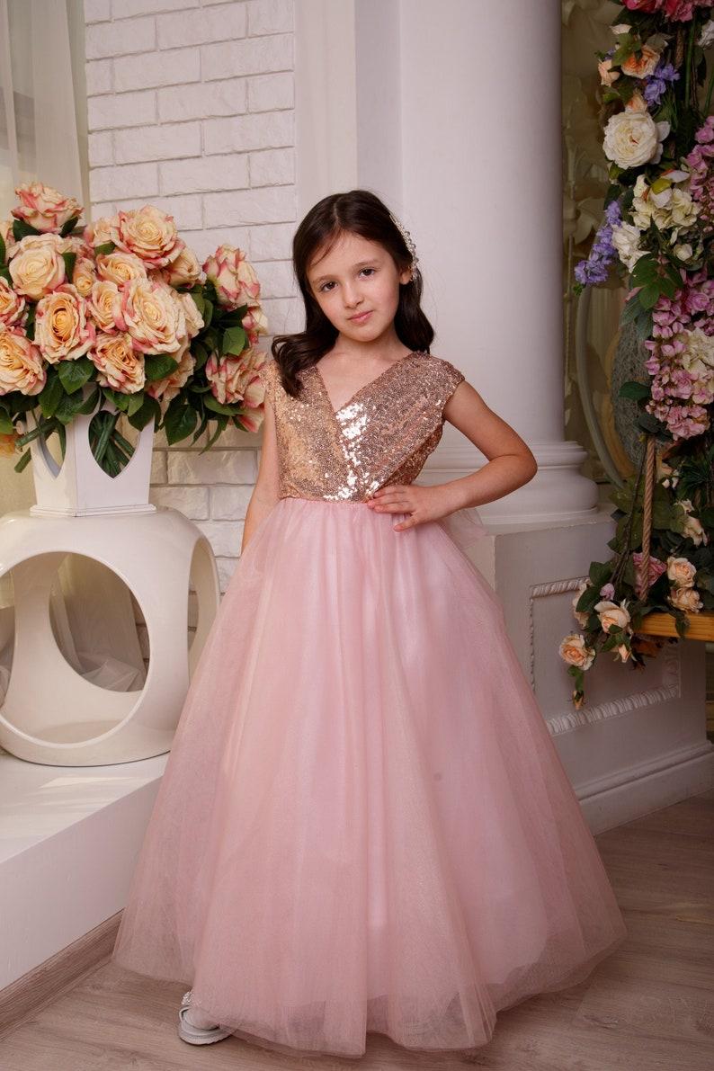 Flower girl dress Blush birthday girl dress ball dress baby formal dress Special occasion dress dusty rose dress Tulle tutu flower dress