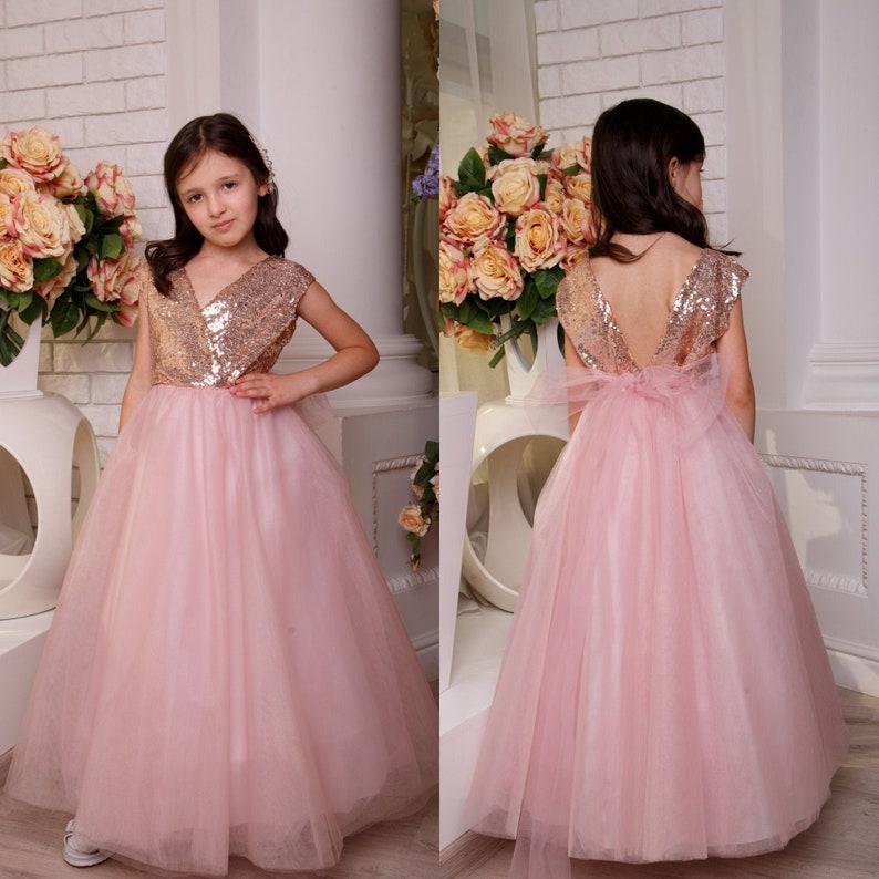 Blush flower girl dress Prom girl dress Tutu dress Junior bridesmaid dress Baby dress Toddler formal dress Girls sequin dress Party dress