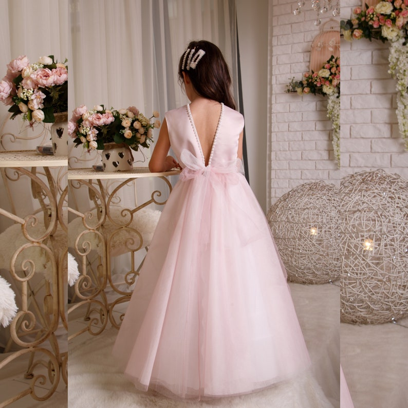Blush Flower Girl Dress Girl formal dress Tulle flower dress Tutu flower girl dress Birthday girl dress Satin girl dress Communion dress