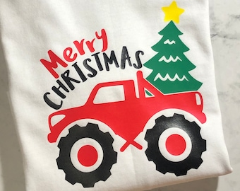 Merry Christmas Monster Truck T Shirt, Christmas Shirts for Boys, Red Monster Truck, Christmas Tree, Christmas Shirts for Kids