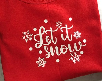 Let it Snow, Red T Shirt, Size YOUTH XS, Short Sleeve Christmas Shirt, Christmas Shirts for Kids, Kids Clothing, Snow Flakes, Snow Flurries