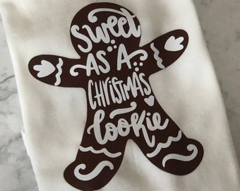 Sweet as a Christmas Cookie Baby Bodysuit, Long Sleeves, Size 18 Months, Christmas Baby Clothes, Winter Baby Clothes, Gingerbread Cookie