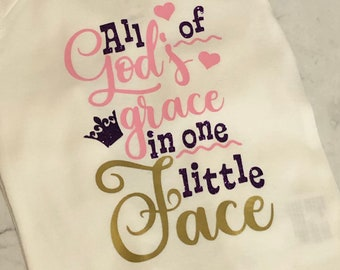 All of God's Grace in One Tiny Face Baby Bodysuit, Long Sleeves, Long Legs, Pink, Purple Glitter, Gold, Size 6 Months, White Bodysuit, Gift