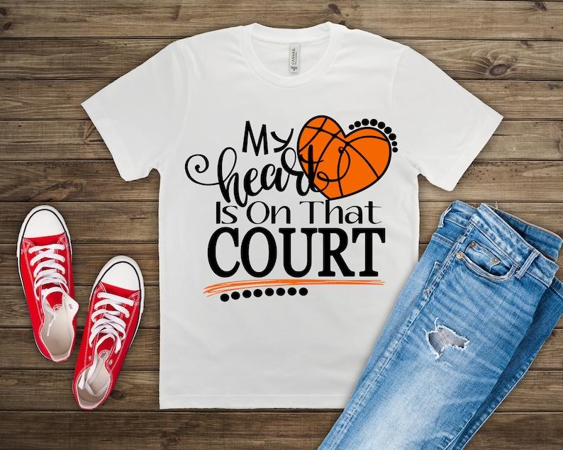 Basketball Shirt Basketball Mom Basketball Dad My Heart is image 0