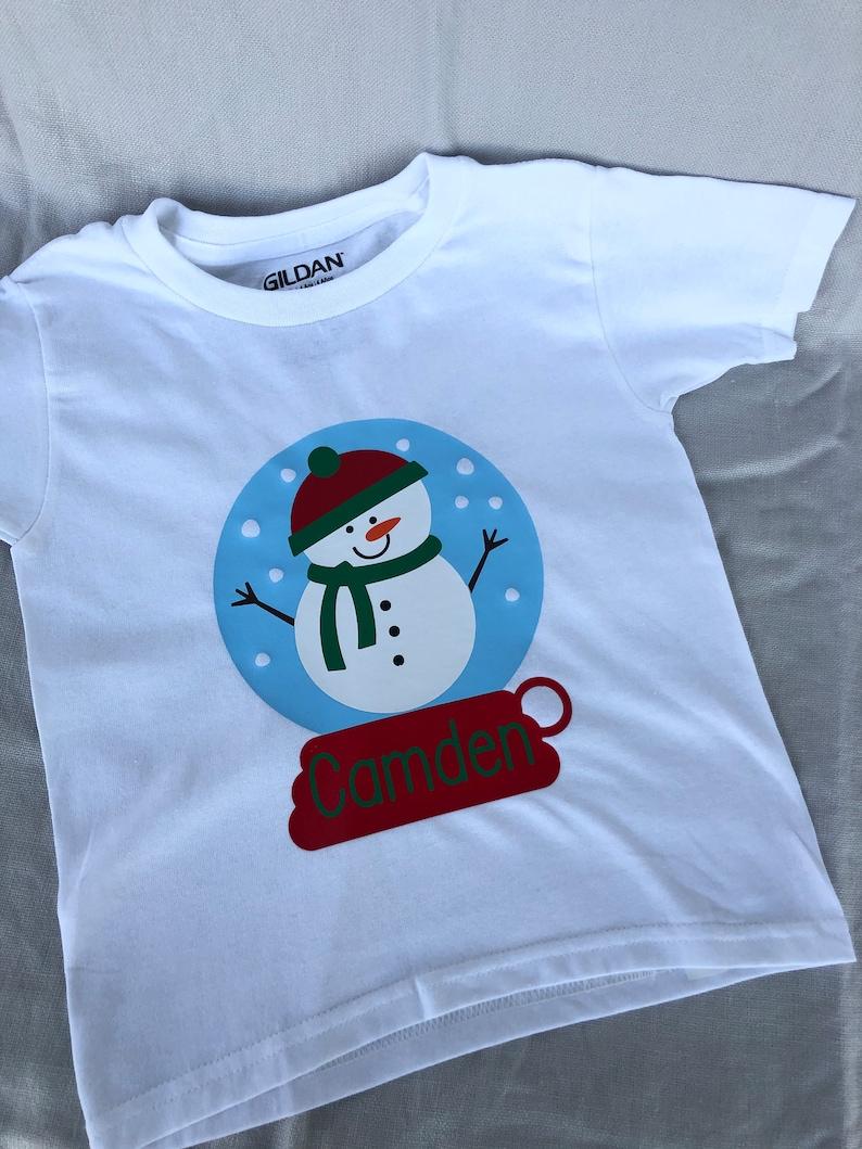 Toddler Snow Globe Christmas Shirt Children's Snow Globe image 0