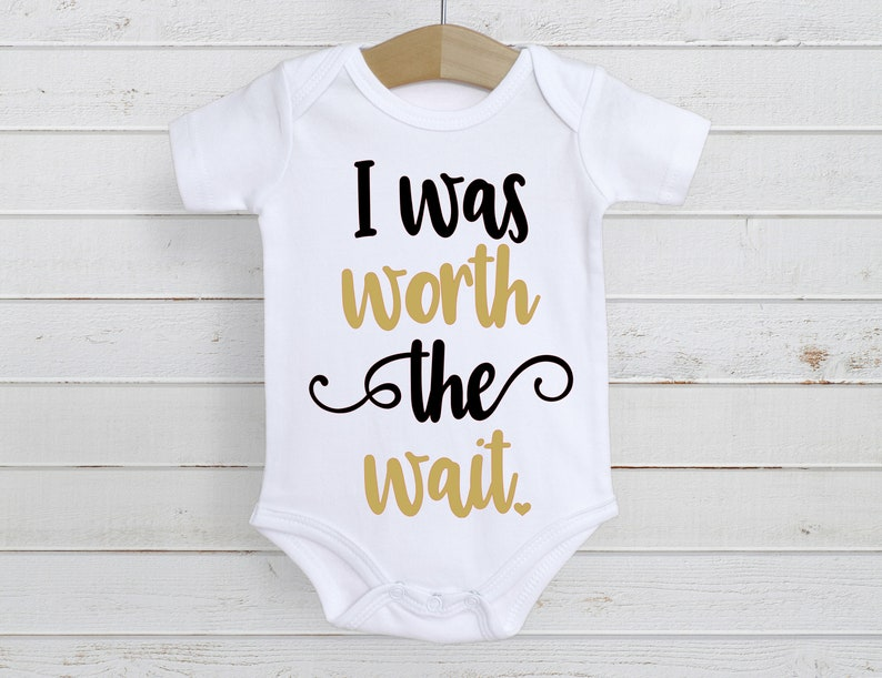 Baby Bodysuit Baby Shower Gift I Was Worth The Wait Baby image 0