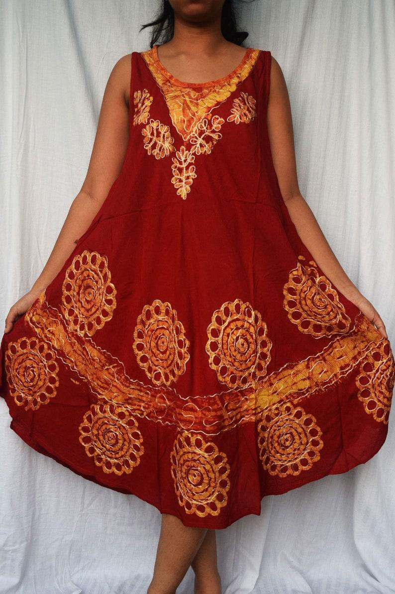 Beach top summer tunic embroidered neck dress Resort Wear Hippie Shirts Floral printed shirt dress Indian Kurta casual evening wear