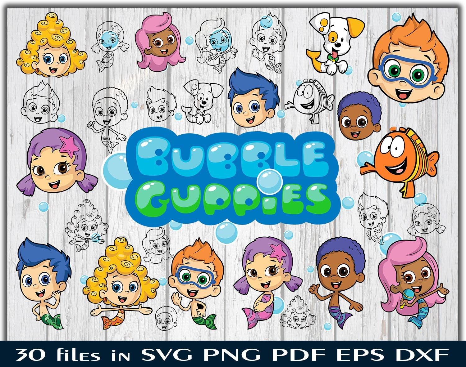 Bubble Guppies svg Goby Molly Deema clipart Nonny Oona Mr Grouper bundle  silhouette stencil file cricut vector cut file svg png pdf eps dxf