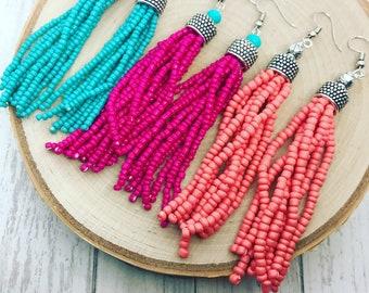 Statement earrings Pink Flamingo Beaded Tassel earrings Oversized