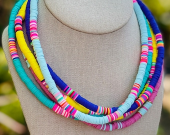 boho necklace gift for her heishi bead necklace women\u2019s beaded necklace,rainbow color necklace Colorful surfer necklace